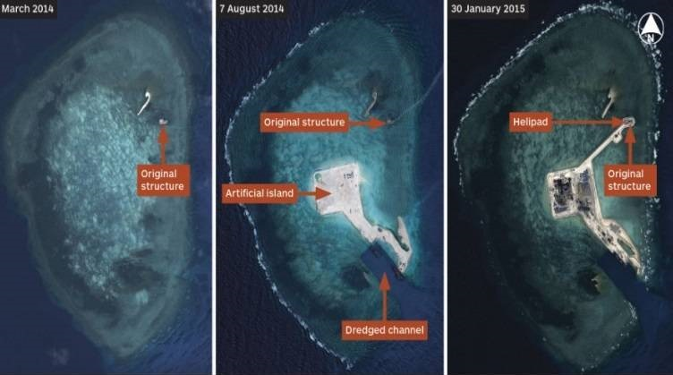 Satellite image of Gaven Reefs in the Spratly Islands by by Airbus Defence and Space collected on 31 March 2014 (left), 07 August 2014 (right) and 30 Jan 2015 showing a large channel and helipad